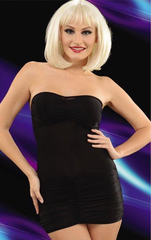 Büzgülü Siyah Straplez Mini Elbise