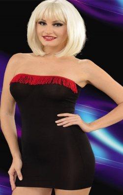 Püsküllü Kırmızı Siyah Straplez Mini Elbise