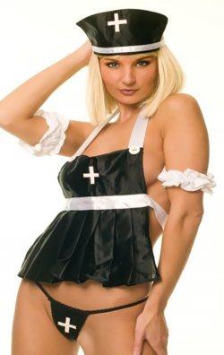 Siyah Seksi Hemşire Kostümü