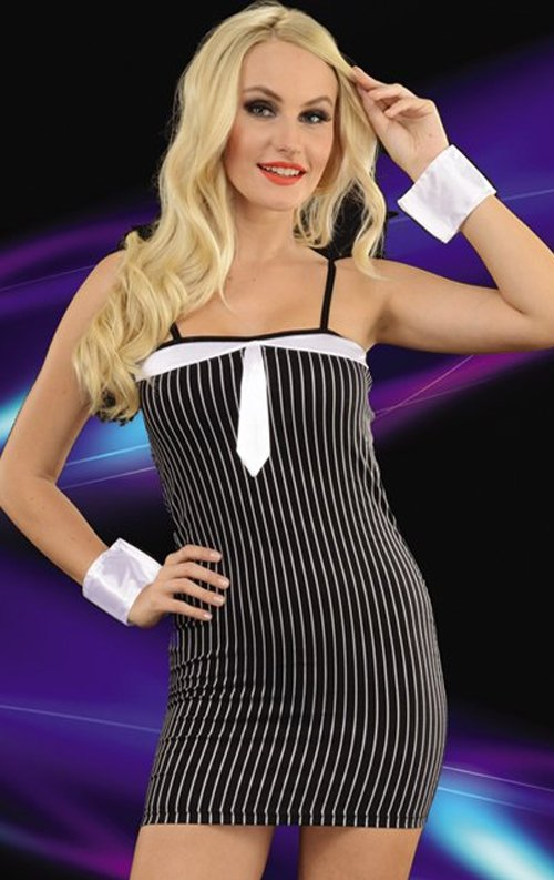 Çizgili Bayan Mafya Kostümü