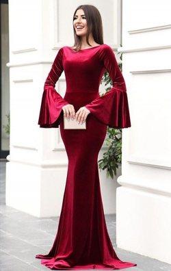 Bordo Kadife İspanyol Balık Abiye Elbise Uzun.