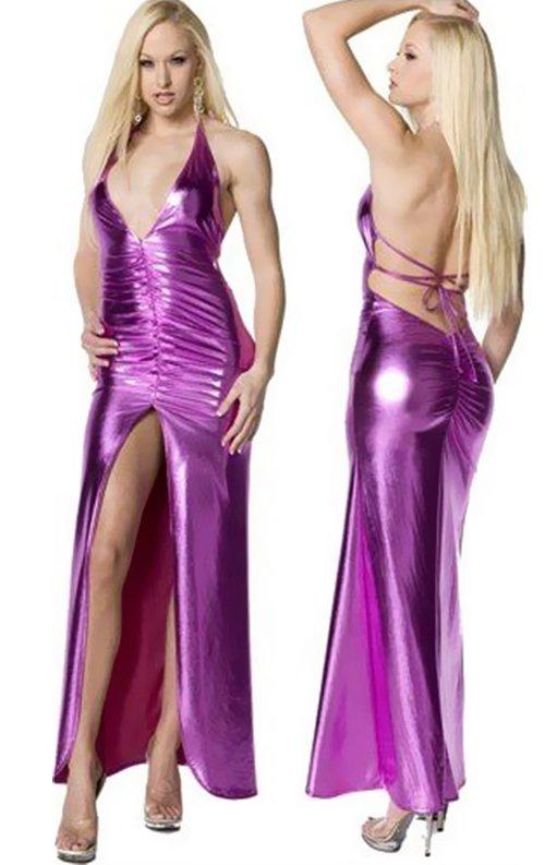 Lame Derin Yırtmaçlı Uzun Elbise