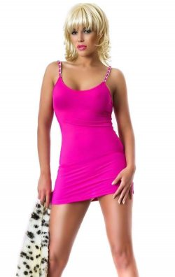 Fuşya Zincirli Süper Mini Elbise