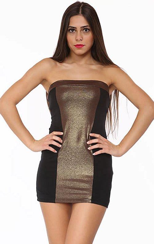 Bronz Straplez Mini Elbise
