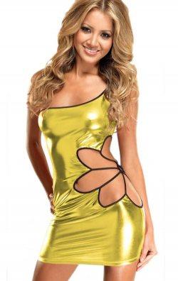 Gold Yaprak Dekolteli Deri Mini Elbise