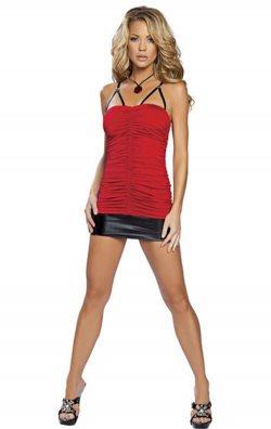 Kırmızı Büzgülü Süper Mini Elbise