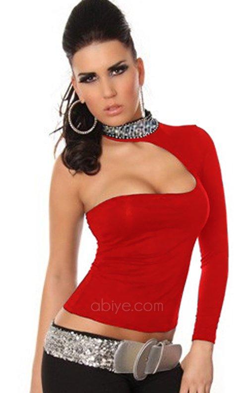 Payetli tek omuz dekolteli kırmızı bluz