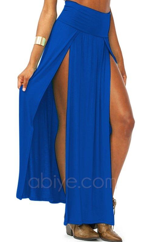 Mavi Çift Yırtmaçlı Uzun Etek