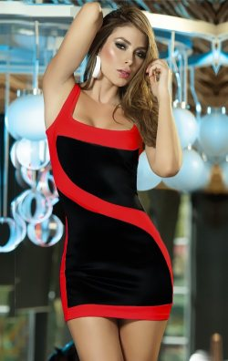 Kontrast Asimetrik Club Mini Elbise