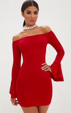 Kırmızı İspanyol Kollu Mini Elbise