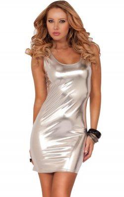 Gümüş Gri Parlak Deri Mini Elbise
