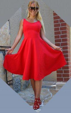 Kırmızı Kloş Midi Abiye Elbise