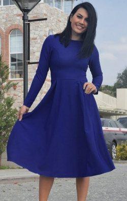 Uzun Kollu Saks Mavi Midi Elbise