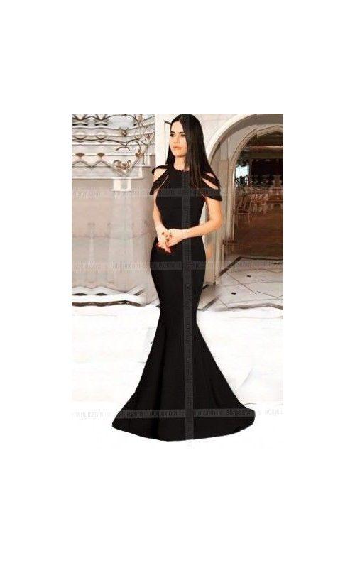 Siyah Omuz Detaylı Balık Abiye Elbise