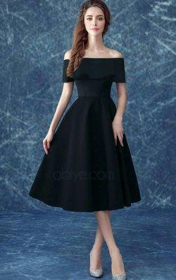 Volanlı Siyah Midi Abiye Elbise