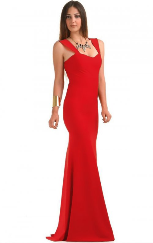 Kırmızı Uzun Balık Abiye Elbise