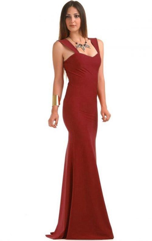 Bordo Uzun Balık Abiye Elbise