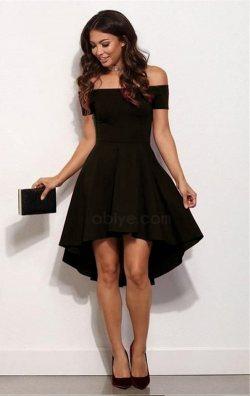 Siyah Asimetrik Kısa Elbise