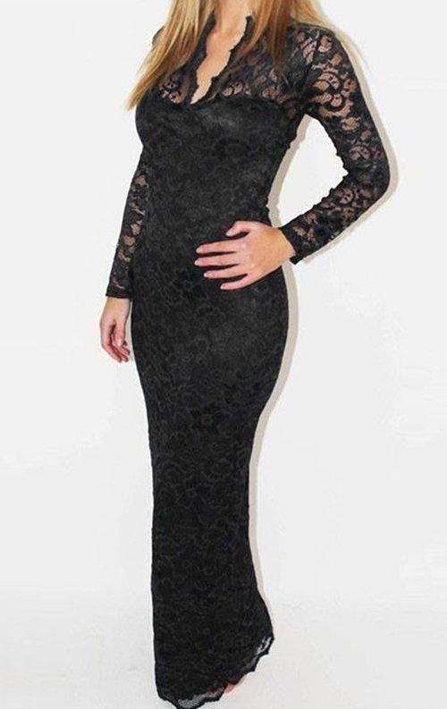 Siyah Uzun Dantel Abiye Elbise
