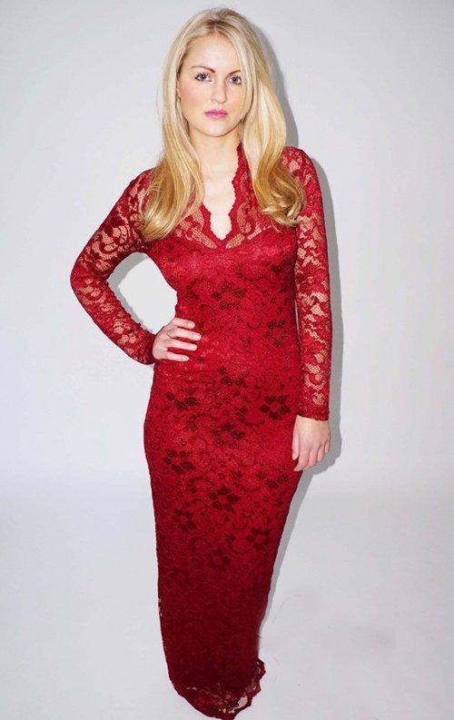 Kırmızı Uzun Dantel Abiye Elbise