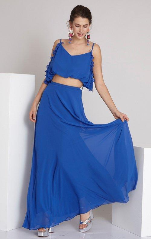 Mavi İki Parça Uzun Abiye Elbise