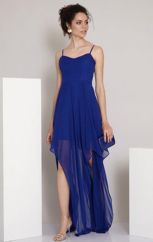 Saks Mavi Asimetrik Uzun Abiye Elbise