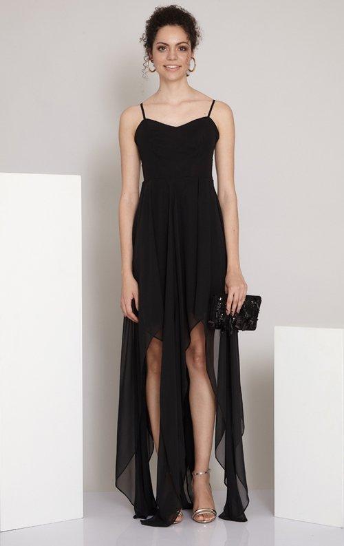 Siyah Asimetrik Uzun Abiye Elbise