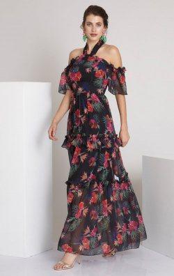 Çiçek Desenli Uzun Şifon Abiye Elbise