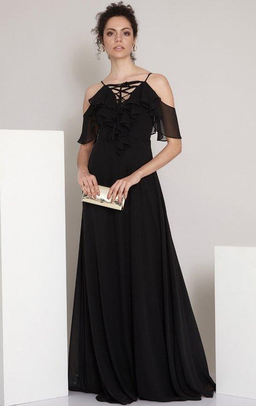 Siyah Uzun Şifon Mezuniyet Elbisesi