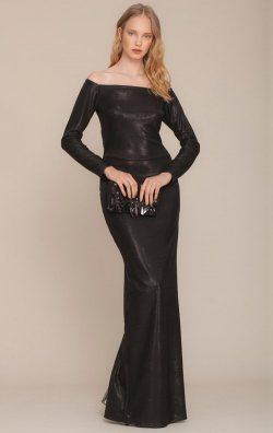 Parlak Siyah Uzun Abiye Elbise