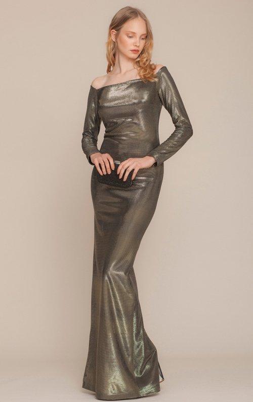 Gold Parlak Uzun Abiye Elbise