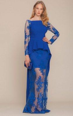 Mavi Uzun Kol Dantel Güpürlü Abiye Elbise