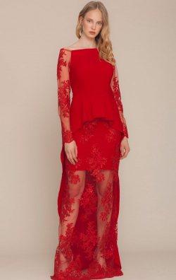 Kırmızı Uzun Kol Dantel Güpürlü Abiye Elbise