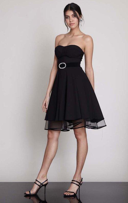 Straplez Tül Detay Siyah Kısa Abiye Elbise