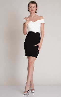 Siyah Beyaz Kısa Abiye Elbise