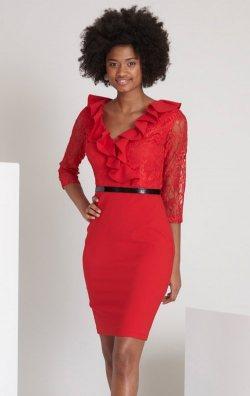 Kırmızı Dantelli Kısa Abiye Elbise