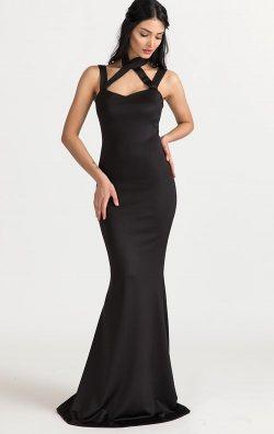 Askılı Siyah Balık Abiye Elbise
