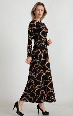 Uzun Kollu Desenli Abiye Elbise