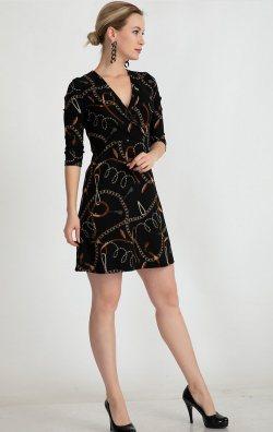 Fakir Kol Kruvaze Yaka Mini Elbise