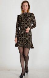 Desenli Uzun Kollu Mini Elbise