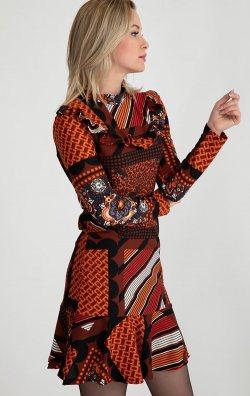Turuncu Desenli Uzun Kollu Mini Elbise