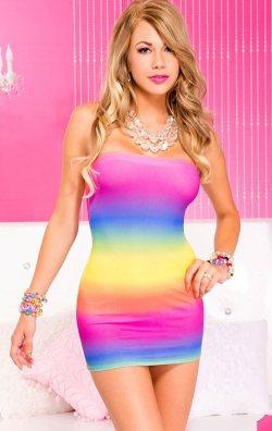 Gökküşağı Desenli Straplez Mini Elbise