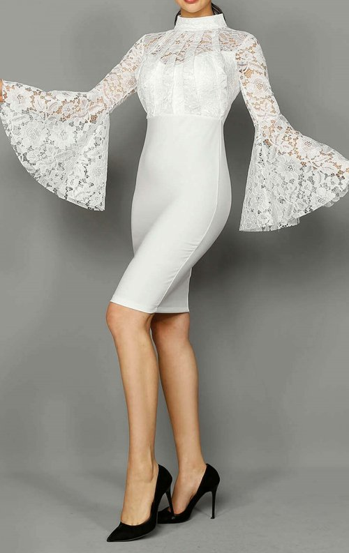Beyaz Dantel Tasarım Abiye Elbise