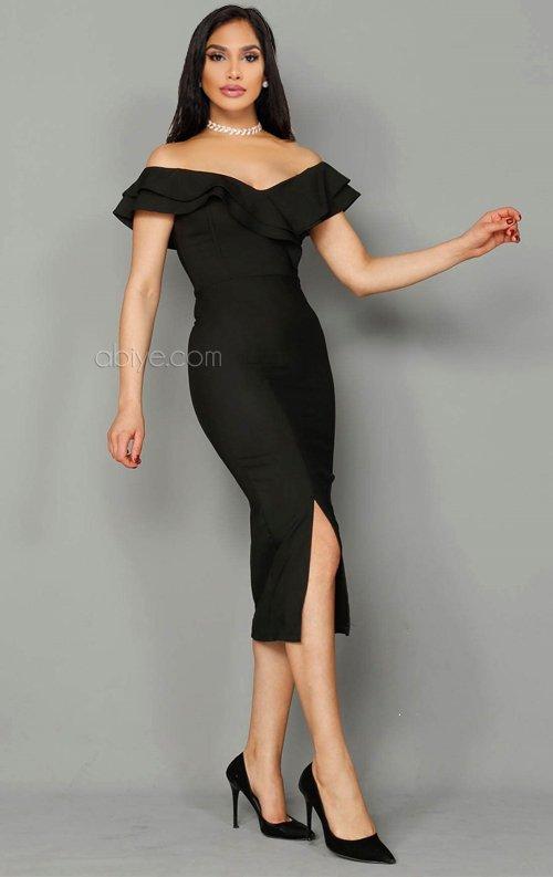 Siyah Fırfırlı Midi Abiye Elbise