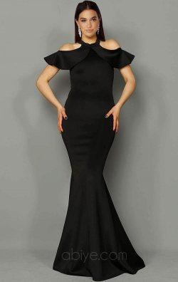 Düşük Omuz Siyah Balık Abiye Elbise