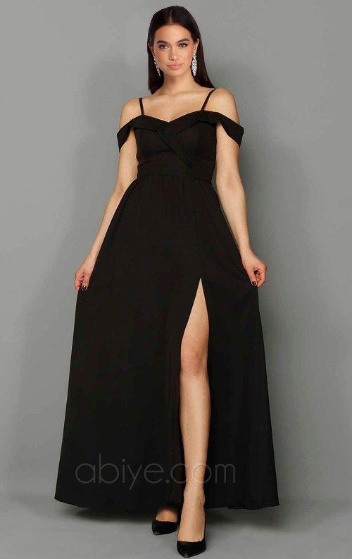 Siyah Düşük Kol Uzun Abiye Elbise