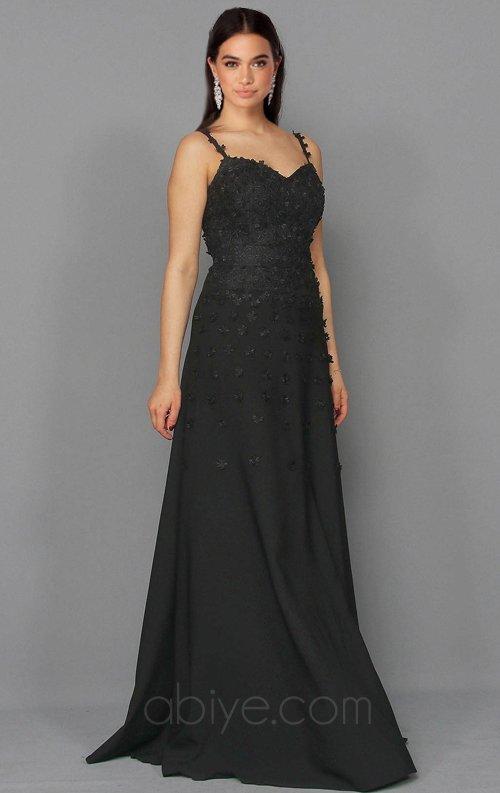 Siyah Tasarım Uzun Abiye Elbise