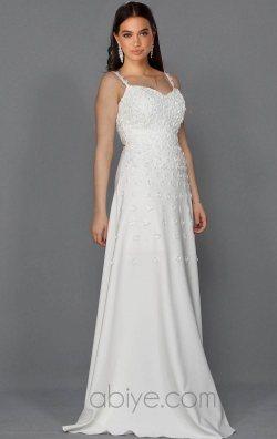 Beyaz Tasarım Askılı Uzun Abiye Elbise