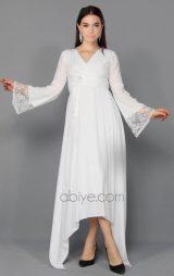 Asimetrik Şifon Astarlı Abiye Elbise