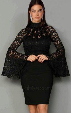 Siyah Dantel Tasarım Abiye Elbise